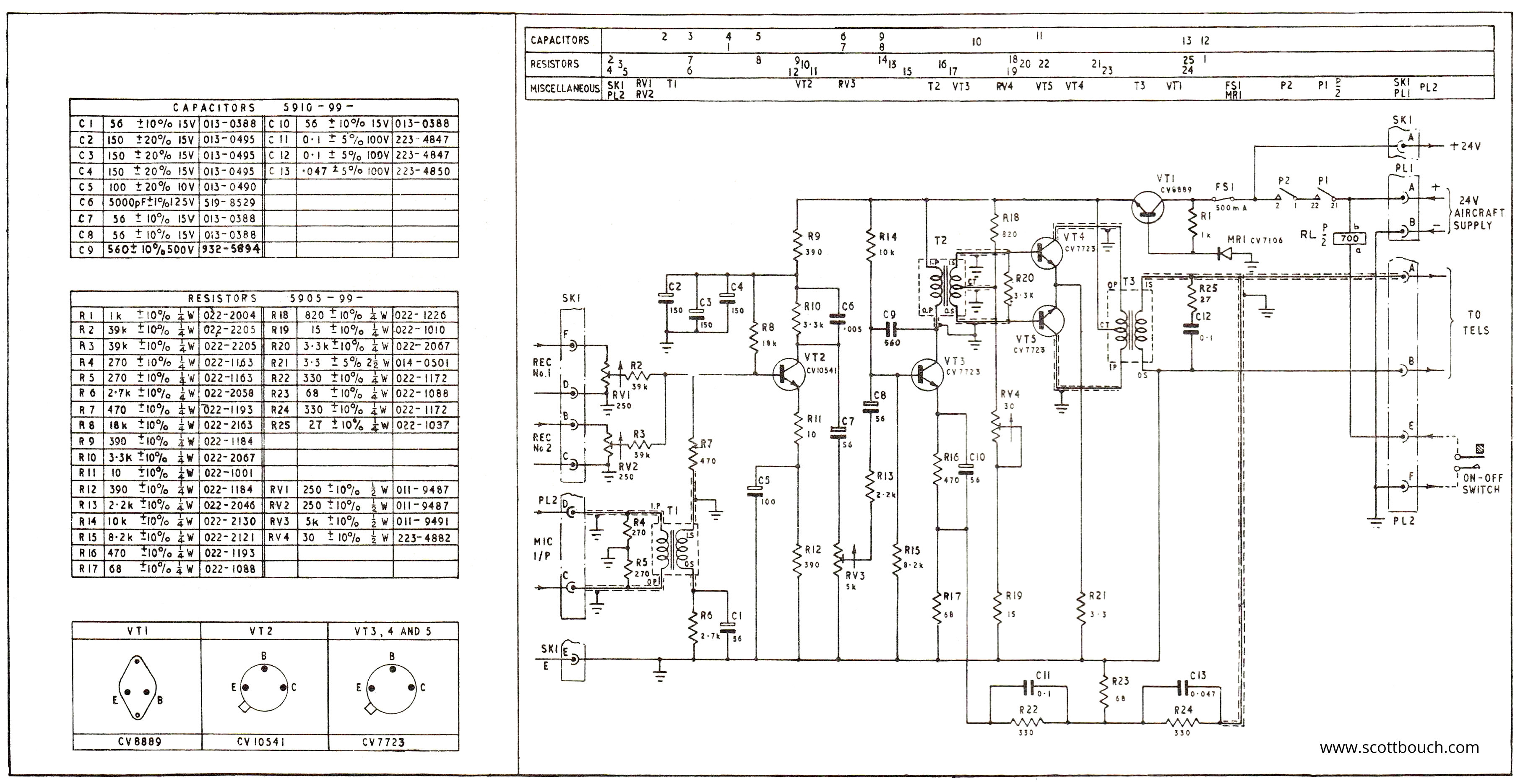 amplifier a1961m circuit 01 a1961m intercom amplifier scottbouch aircraft intercom wiring diagram at bayanpartner.co